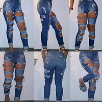 2017 New Brand Women Plus Size High Waist Distressed Ripped Casual Blue Skinny Denim Jeans Clubwear Hot Stylish Hole Jean
