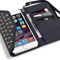 iPhone 6S Plus Case, Terrapin Trendy [Studded] iPhone 6S Plus Wallet [Black] Rock Chic Purse Style Case for iPhone 6 Plus / 6S Plus - Black