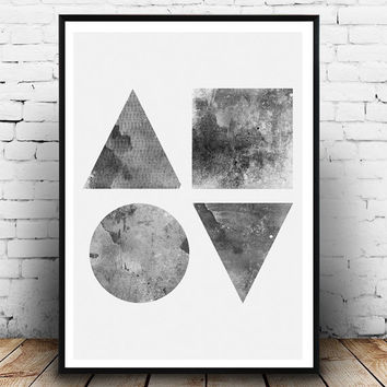 Geometric art, monochrome art, black and white, Nordic design, Abstract watercolor, triangle print, Geometric wall art, Home decor, Modern