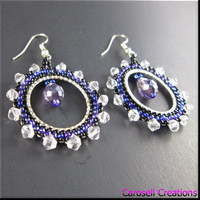Crystal Hoop Seed Bead Earrings Beadwork in Blues and Purples