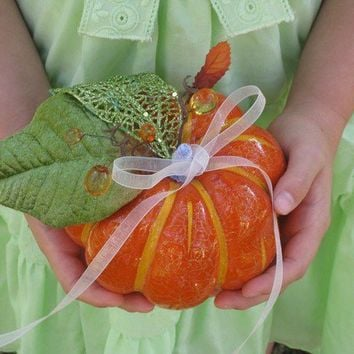 Harvest RING BEARER or Flower Girl Pumpkin by KirahleyKreations