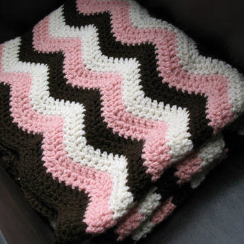 Neapolitan Chevron Baby Blanket, Pink / Chocolate Brown / Ivory, Perfect for Baby Showers, Cribs, Carseats, Strollers, Ready to Ship
