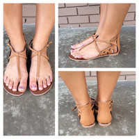 Tan Snake Buckle Sandals