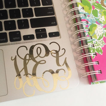 "3"" Gold Foil Monogram Decal Agenda Laptop Car Sticker"
