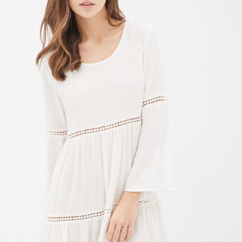 Crochet-Paneled Bell Sleeve Peasant Dress