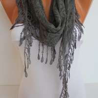 Dark Gray Cozy Shawl Scarf - Headband -with Lace Edge - Trending Summer