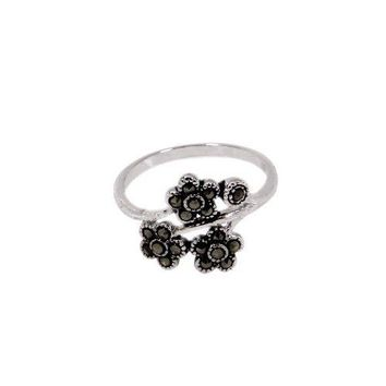 Antique Style Sterling Silver Flowers On A Vine Ring With Genuine Marcasite Stones in Rhodium Plate Finish