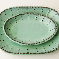 Stoneware Oval Square Plate - Aqua Mist French Country Dinnerware - Four Color Choices - One Dish