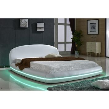 White Leather with Flexible LED Decoration Strip Light Contemporary Platform Bed | Overstock.com Shopping - The Best Deals on Beds
