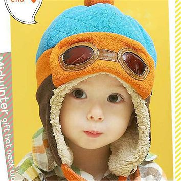 Toddlers Cool Baby Boy Girl Kids Winter Pilot Warm Cap Hat Beanie