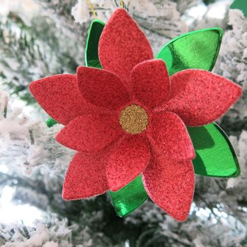 Glitter Poinsettia Ornament, Paper Flower Christmas Tree Decoration, Festive Handmade Holiday Decor