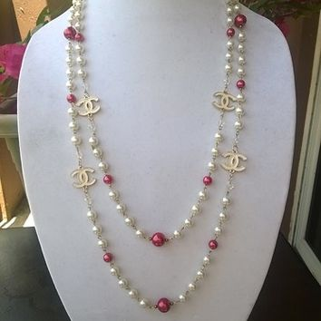 "Fabulous & Classy 64"" Hollywood Glam Crystal & Pearl Necklace"