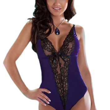 Atomic Purple V-Cut Lace Teddy