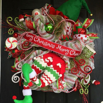 Elf wreath,Christmas deco mesh wreath,Christmas Elf wreath,holiday wreath,front door wreath,Elf deco mesh wreath,elf wreath with legs bottom