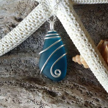Handmade in Hawaii, Wire wrapped teal blue sea glass necklace,925 sterling silver chain,gift box,beach glass jewelry.sea glass jewelry.