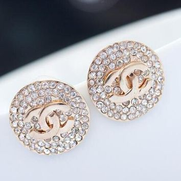 Chanel Popular Women Round Type Exaggerated Diamond Stud Earrings Jewelry I12430-1