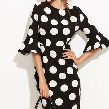 Bell Sleeve Polka Dots Women's Sheath Dress