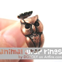 Realistic Owl Bird Animal Wrap Around Hug Ring in Copper Size 4 to 8.5