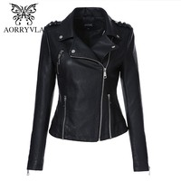 AORRYVLA 2018 New Autumn Leather Jacket Women Motorcycle Short Coats Fashion Blue Turn-Down Collar Zippers Faux Leather Jacket