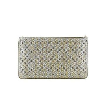 ONETOW CHRISTIAN LOUBOUTIN WOMEN'S 3165141M546 SILVER LEATHER CLUTCH