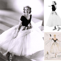 1950s Grace Kelly Dress... from Rear Window... Gorgeous interpretation with FULL Tulle Layered Skirt...