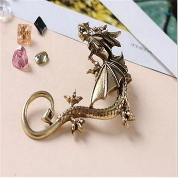 ONETOW Dragon Earrings Non- Pierced Clip On Earrings Fake Ear Cartilage Cuff Ear Ring (Bronze)