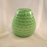 Hand Blown Glass St Patricks Day Vase in Pastel and Peridot Green