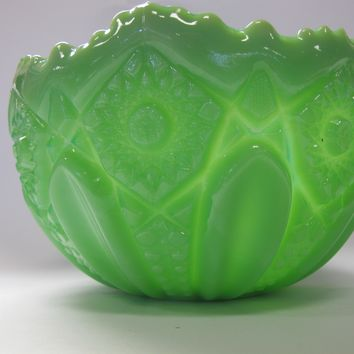 L E Smith Glass green jadeite Glass Bowl