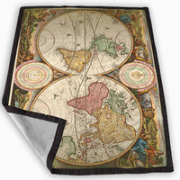 Vintage World Map Blanket for Kids Blanket, Fleece Blanket Cute and Awesome Blanket for your bedding, Blanket fleece **