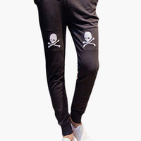 Black Skull Embroidered Pants