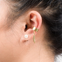 Gold Small Leaf Ear Cuff