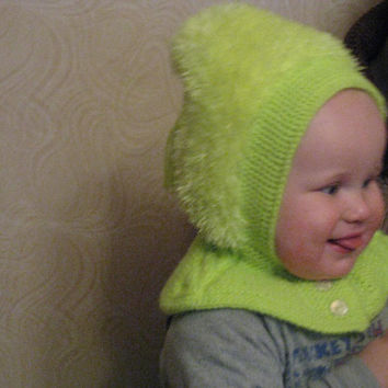 Woolly Balacalva Hat, Baby/ Toddler/ Children Hoodie hat, yellow Hat with Neck warmer, Helmet hat, 1-3-years