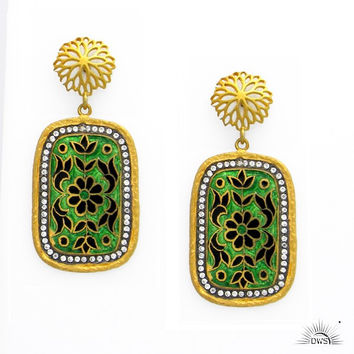 22K Yellow Gold Plated Sterling Silver CZ And Enamel Designer Dangle Earrings