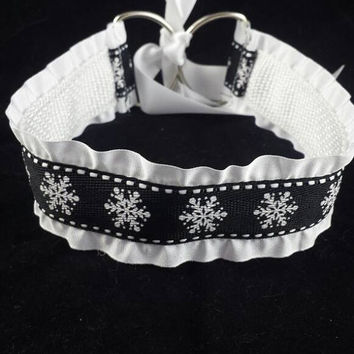 DDLG Collar, Snowflake White and Black Holiday Satin Collar