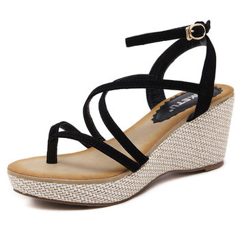 SIKETU New Sandals Women'S Leisure Platform Sandals New Summer Fashion Cutout Thick Heels Wedges Summer Open Toe Shoes Woman