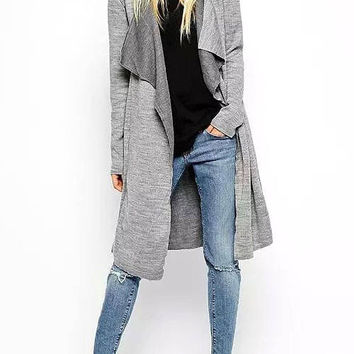 Gray Belted Knit Trench Coat