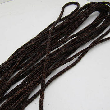 "Leather braided square cord.... 20 yards of Antique brown, 8 mm (5/16"") size,  2076"