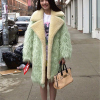 Womens The Wizard of OZ Faux Fur Lapel Neck Trench Coats Mint green Cashmere Lining Fur Collar Warm Thick Outerwear Free Shipping WT151