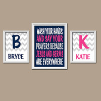 Jesus and Germs Bathroom Wall Art CANVAS or Prints Brother Sister Quote Boy Girl Bathroom You Choose Colors Personalized Name Set of 3