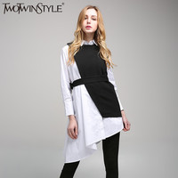 [TWOTWINSTYLE] 2017 Spring Vintage Two Piece Set Loose Long Sleeve With Belt Ladies Dresses Women New Clothing