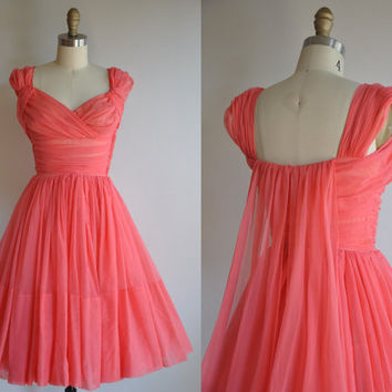 vintage 1950s pink Cupcake ruched princess by simplicityisbliss