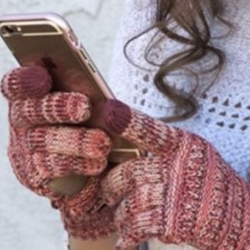 Knitted Texting Gloves - Ivory