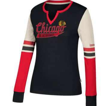 Women's Chicago Blackhawks CCM Long Sleeve Henley Tee