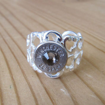 38 Special Bullet Ring Ultra Stong with Greige Swarovski Crystal Accents - Small Thin Cut - Girls with Guns