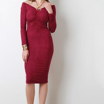 Ruched Bodice Vegan Suede Midi Dress