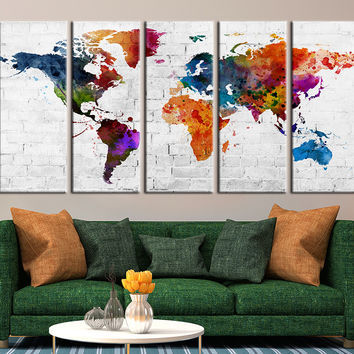 Colored Watercolor World Map on Brick Wall Canvas Art Print, Brick Wall and World Map Art Print No:006