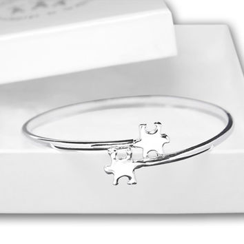 Elegant Autism ASD Awareness Puzzle Bangle Bracelet