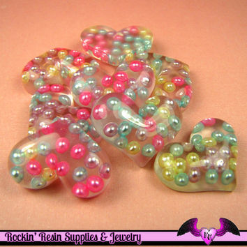 4 pc PEARL HEART Resin Decoden Flatback Kawaii Cabochons 29x22mm