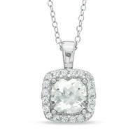 7.0mm Cushion-Cut Lab-Created White Sapphire Frame Pendant in Sterling Silver