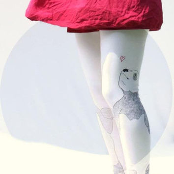 Pattern Panda - Hand printed Organic Stretch Cotton Legging, Eco fashion made by hand, and Made to Order
